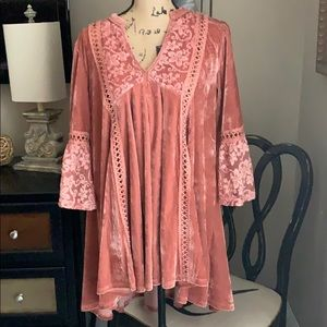 Velour Top Bohemian Style Oversize Fit